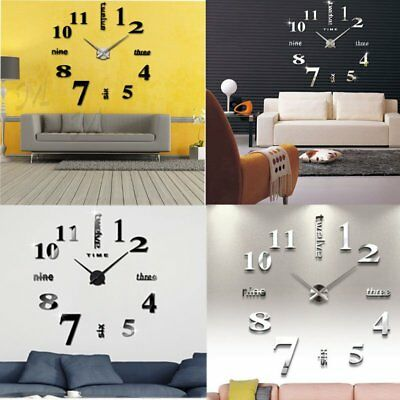 Modern Mute DIY Large Wall Clock 3D Sticker Home Office Decor Clocks UK Stock AY