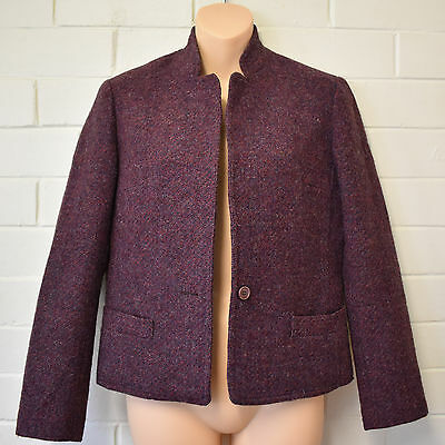 Leon Cutler Pure Wool Purple Blazer Jacket Size 6 8 Vintage 1970s