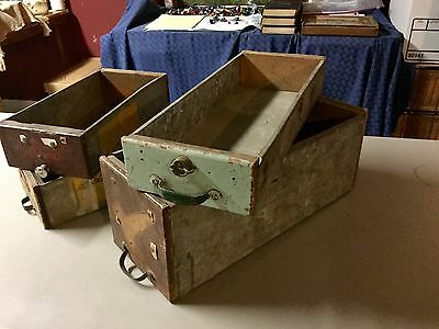 Antique Tin and Wood Boxes/Drawers From Old Hardware Store, Lot of Four!!