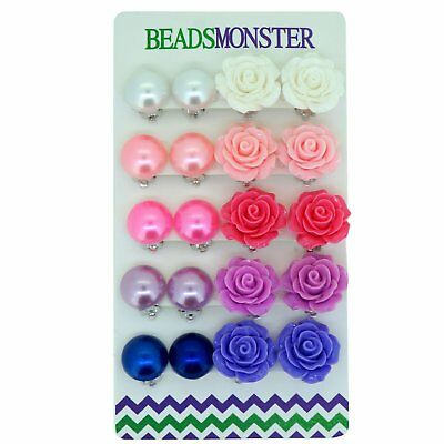 Color Faux Pearl Rose Flower Clip On Earrings Gift For Little Teen Girls Womens