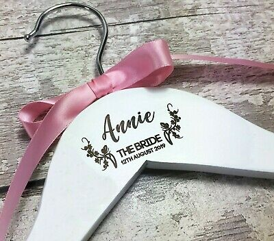 Personalised Bridal Hangers Custom Wedding Dress Bridesmaid Name Pack L1086