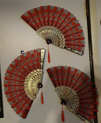 Three Decorative Hand Fans -- All Three Fans In Excellent Used Condition
