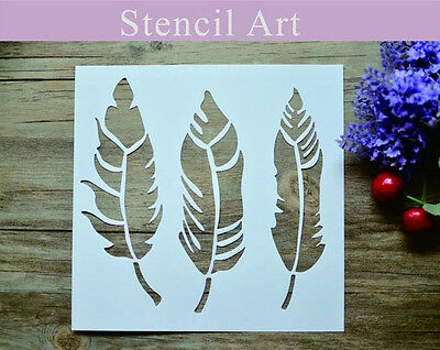 DIY Feather Layering Scrapbooking Stencils For Walls Painting Furniture