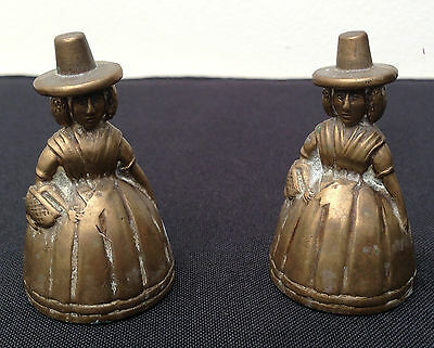Antique - Small Brass Fireside Ornaments - A Pair of Welsh Ladies Bells