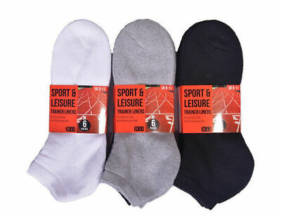 Mens Womens Trainer Liner Cushioned Socks Cotton Rich Sports 6/12 Pairs 4-11