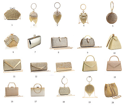 Womens Gold Crystal Clutch Bag Purse /Ladies Evening Party Bridal Prom Hanbags