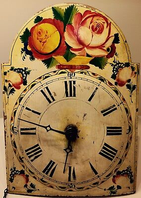 Antique European Wood Face, Brass Movement Wag On Wall Clock