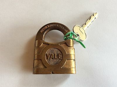 vintage Yale & Towne brass padlock and key