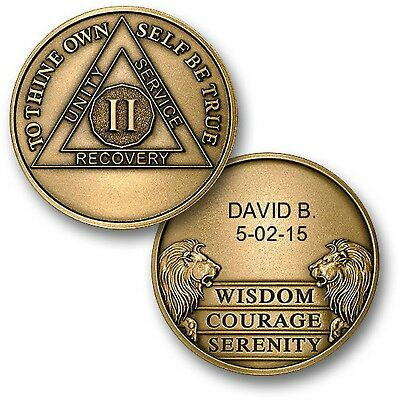 Personalized Custom Engraved  2 Year Alcoholics Anonymous-Coin-Chip-Medallion