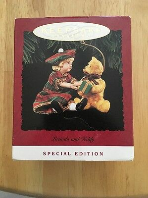 1994 Hallmark Lucinda and Teddy Bear Keepsake Ornament Special Edition Victorian
