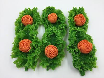 Fake Food Realistic Plastic CARROT FLOWER KALE LEAVES (6pc) Faux Food Decor Prop