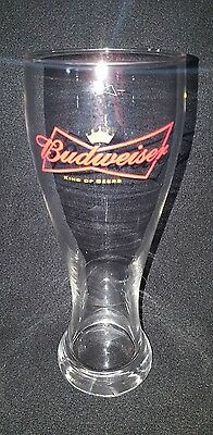 BUDWEISER Tall Beer Glass!  King of Beers Logo Drink Glass!