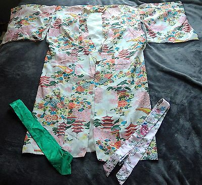 Vintage short sleeve flower Kimono made in japan Antique small 2 sashes pink