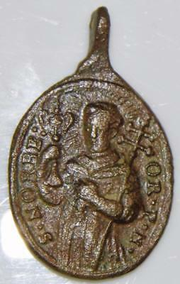 St. Odile & St. Norbert Rare Medieval HOLY MEDAL Patron Alsace & Childbirth 36mm