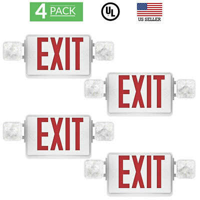 Sunco 4 pack EMERGENCY EXIT SIGN Single/Double Face LED w/ 2 Head Lights UL