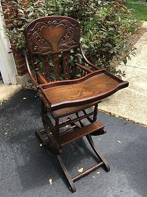 Vintage Childrens Highchair - Antique Oak