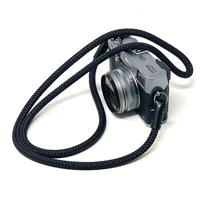 """""""Cordy Slim"""" Rope & Leather Camera Neck Strap 48in/122cm, Handmade by Cordweaver"""