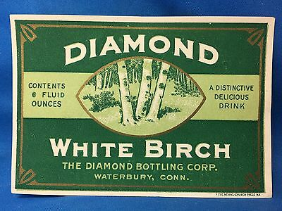 c. 1930 Original Vintage DIAMOND WHITE BIRCH Soda Bottle Label WATERBURY CONN