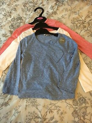 New Girls Cotton Mix Long Sleeve Tops 3 x Pack Age 18 - 24 months