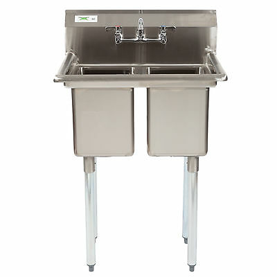 "27"" Two Compartment Stainless Steel Commercial 2 Sink Utility Hand Wash Kitchen"