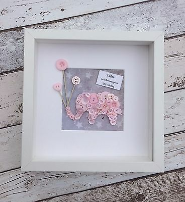 Personalised Baby Girls Button Art Elephant Picture Frame Gift Keepsake