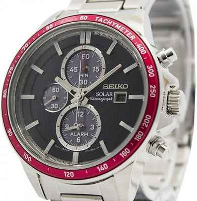 Seiko Solar Chronograph Mens Watch with Alarm Steel 100M SSC433P1 UK Seller
