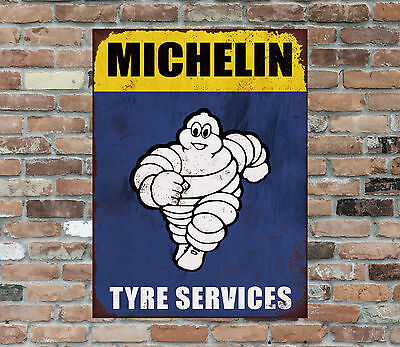 Metal Sign Plaque Michelin Tyres Garage Shed Car Bike Man Cave Vintage Retro DS1