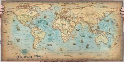 World map antique vintage style poster wall decoration art print world map vintage style poster gumiabroncs Images