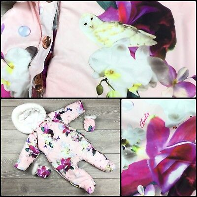 Designer Ted Baker Baby Girls Pink Floral Snowsuit Pramsuit All In One 6-9 M