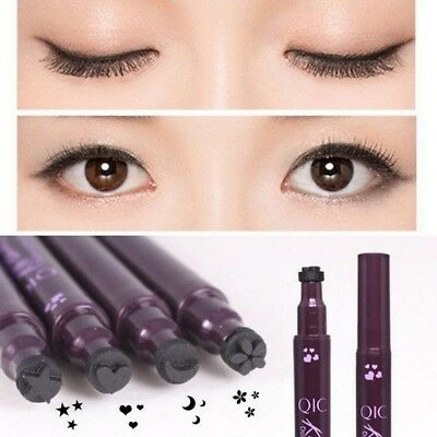 Double Sided Waterproof Black Liquid Eyeliner Eye Liner Pencil Star Moon Stamp