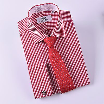 Red Check Pink Pindot Business Dress Shirt Luxury Formal French Cuff Fashion Top