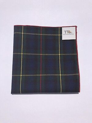Multi-Colored Plaid Pocket Square with Red Trim