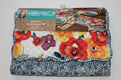 Pioneer Woman New Reversible Floral Table Runner Washable NWT Flea Market Farm