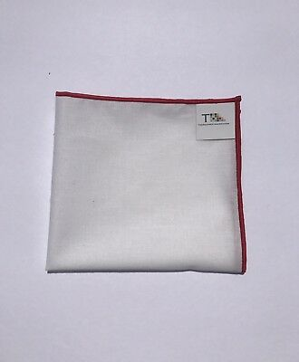 Men's White Pocket Square with Red Trim