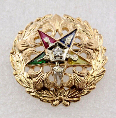 Vintage Masonic Eastern Star Gemstone Diamond Pin in 14K Yellow Gold