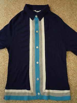 True Vintage SEARS BOYSWEAR Collared Knit Cardigan long sleeve 60S/70s MOD