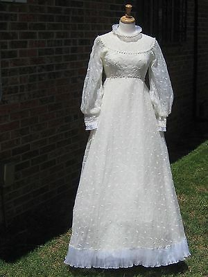 Vintage 60s Wedding Dress Delicate Embroidered Floral Accordian pleat Trim XS
