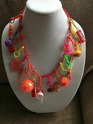 Vintage New 80's Plastic Charm Necklace Retro Clip On Party 1980 16 Charms