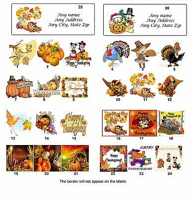 Personalized Return Address Thanksgiving Labels  Buy 3 get 1 free (tg1)