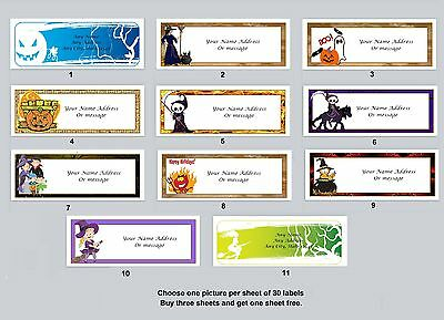 30 Personalized Return Address Labels Halloween Buy 3 get 1 free (ha7)