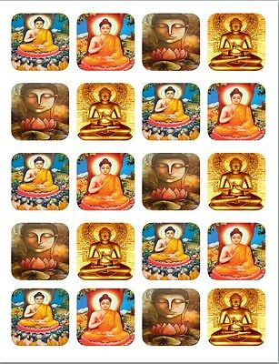 """20  2""""x2"""" Glossy Square Stickers/Seals Buddha Buy 3 get 1 free (s55)"""