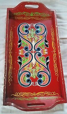 Vintage Norwegian Rosemaling Wooden Folk Art Tray Gorgeous Bright Colors