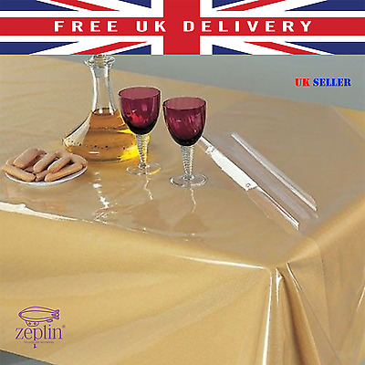 PVC Table Protector Vinly Wipe CLEAR Transparent Tablecloth Dining Cover Cloth