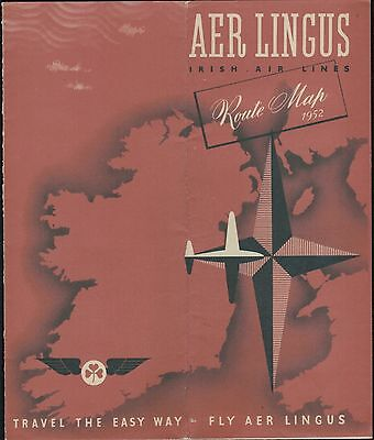 1952 Irish Air Lines Aer Lingus BEA BOAC Aviation Route Map Travel Tour Brochure