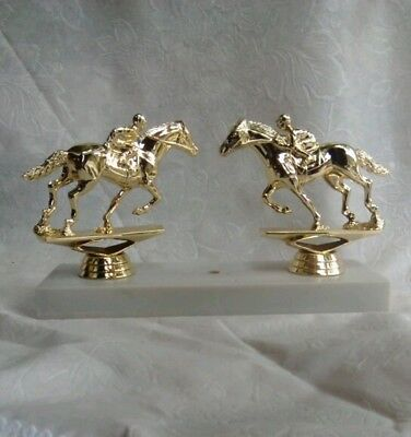 """NOS Gold horse and rider, jockey horse races Trophy Topper, 4"""""""