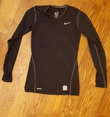 Nike Pro Womens Top Sz Small S 4-6 Fitted Long Sleeve Shirt Size Black V neck