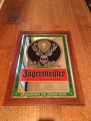 """Vintage Jagermeister Mirror 22"""" x 16"""" Buck and cross Man Cave- Great condition"""