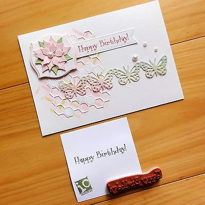"""""""clearance"""" Impression Obsession Happy Birthday #2 Sentiment Cling Stamp Bnip"""