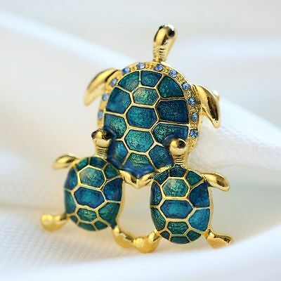 Gorgeous Gold Plated Green & Blue Crystal Turtle Statement Brooch