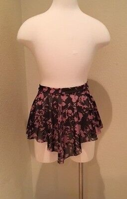 Specialty Ballet Dance Skirt Floral Mesh SAB Style Wrap Look Pull On 26-28 Inch